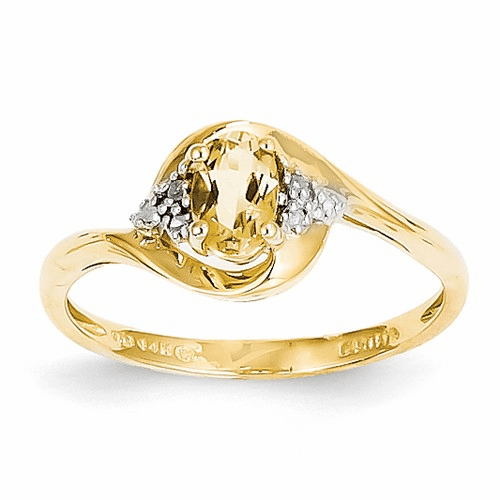 14k Diamond & Citrine Ring Xbs428