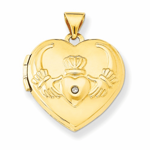 14k Diamond Claddagh Heart Locket Xl80