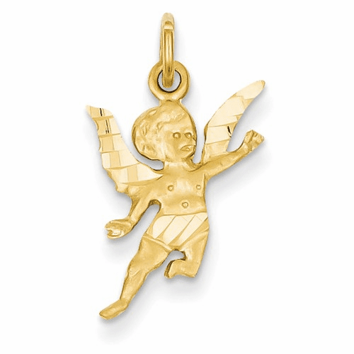 14k Diamond-cut Angel Charm C344