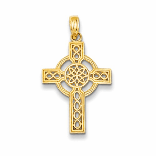 14k Diamond-cut Celtic Cross Pendant K5049