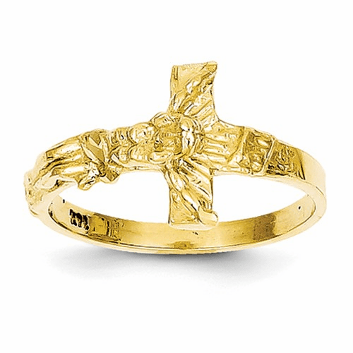 14k Diamond-cut Crucifix Ring K3968