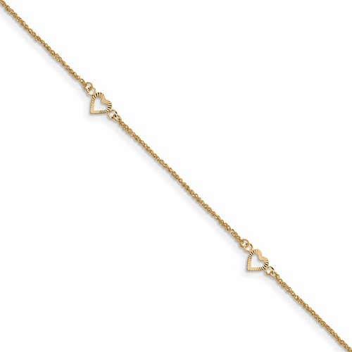 14k Diamond-cut Hearts With 9in 1in Ext Anklet Ank218-10