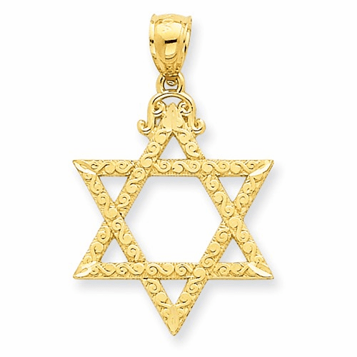 14k Diamond-cut Star Of David Pendant C3741