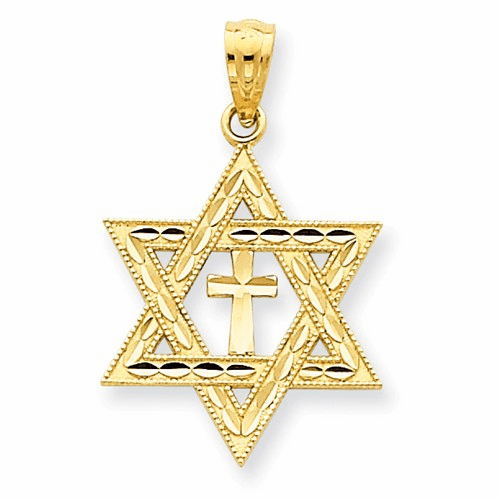 14k Diamond-cut Star Of David W/cross Pendant C3740