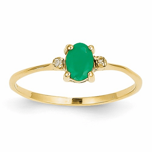 14k Diamond & Emerald Birthstone Ring Xbr206