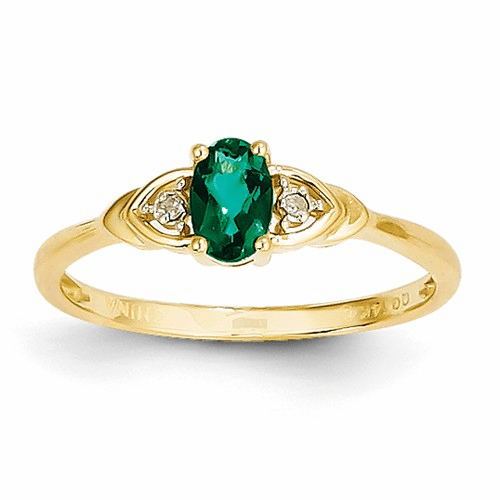 14k Diamond & Emerald Ring Xbs268