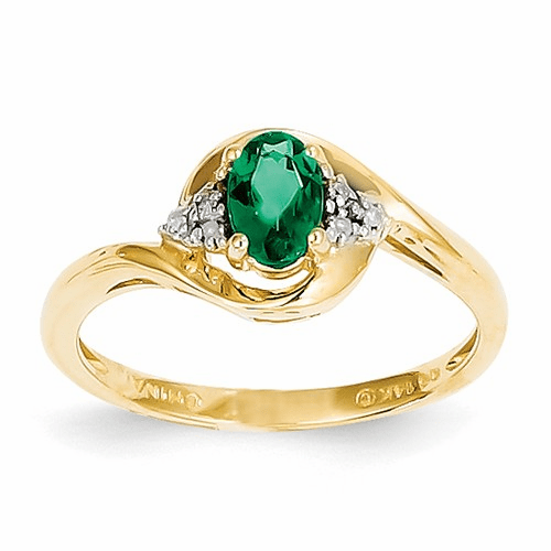 14k Diamond & Emerald Ring Xbs412