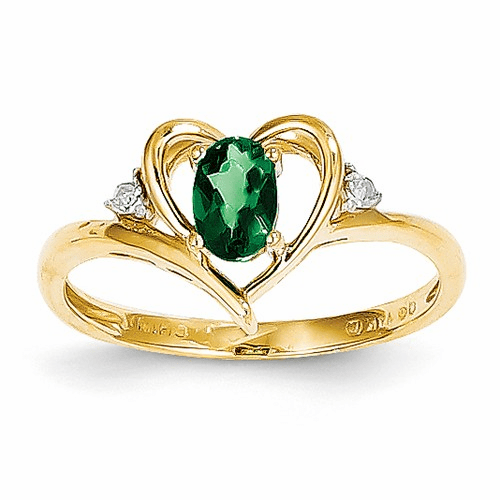 14k Diamond & Emerald Ring Xbs484