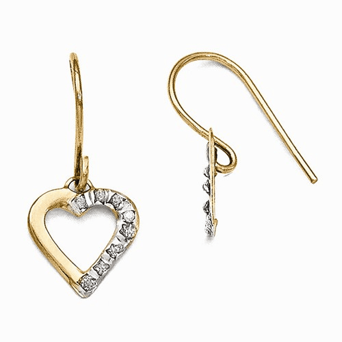 14k Diamond Fascination Heart Earrings Df262