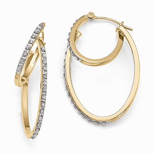 14k Diamond Fascination Hinged Double Hoop Earrings Df113