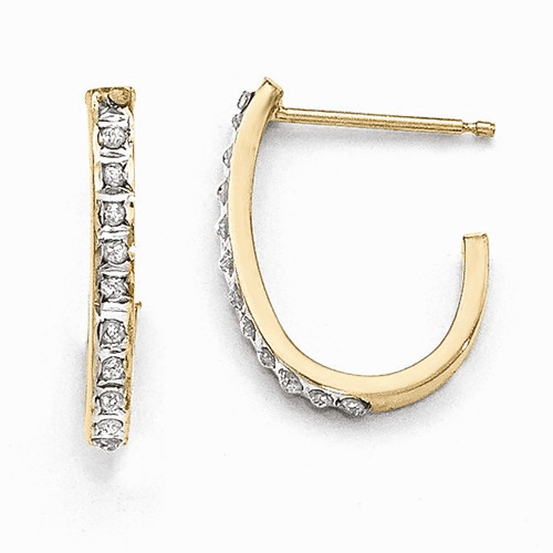 14k Diamond Fascination Post J Hoop Earrings Df144