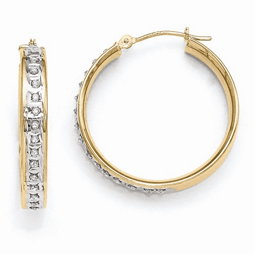 14k Diamond Fascination Round Hinged Hoop Earrings Df232