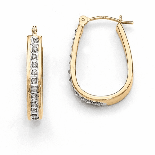 14k Diamond Fascination Squared Hinged Hoop Earrings Df136