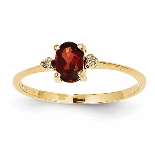 14k Diamond & Garnet Birthstone Ring Xbr202
