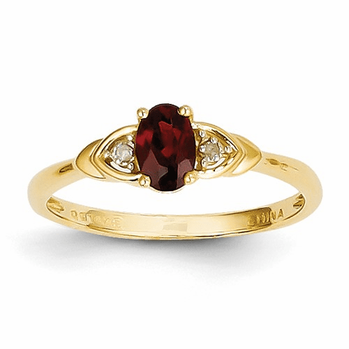 14k Diamond & Garnet Ring Xbs260