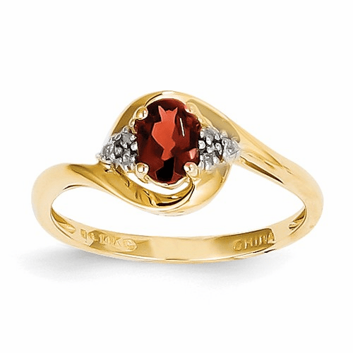 14k Diamond & Garnet Ring Xbs404