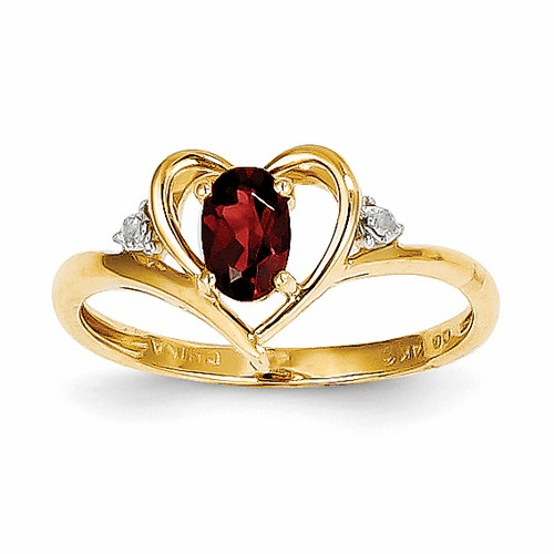 14k Diamond & Garnet Ring Xbs476
