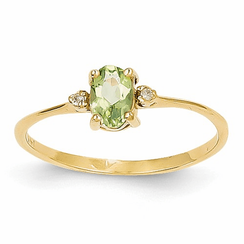 14k Diamond & Peridot Birthstone Ring Xbr209