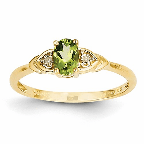 14k Diamond & Peridot Ring Xbs281