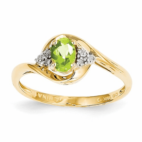 14k Diamond & Peridot Ring Xbs425