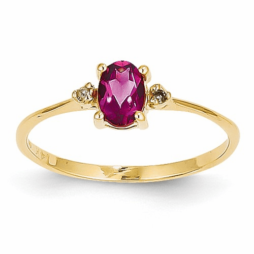 14k Diamond & Pink Tourmaline Birthstone Ring Xbr211