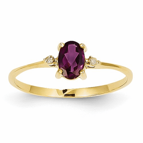 14k Diamond & Rhodolite Garnet Birthstone Ring Xbr207