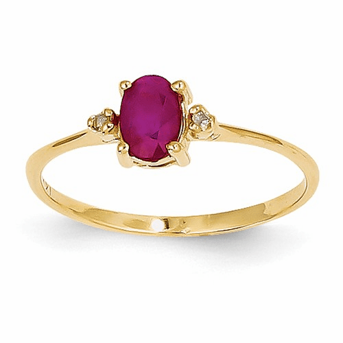 14k Diamond & Ruby Birthstone Ring Xbr208
