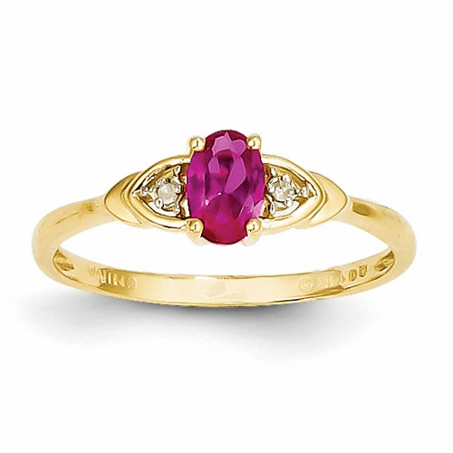 14k Diamond & Ruby Ring Xbs270