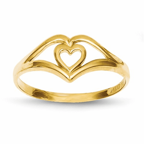 14k Double Heart Cut-out Frame Ring K4577