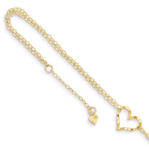 14k Double Strand Heart 9 With 1 Ext Anklet Ank173-9