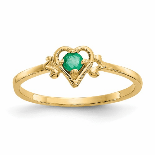 14k Emerald Birthstone Heart Ring Yc428