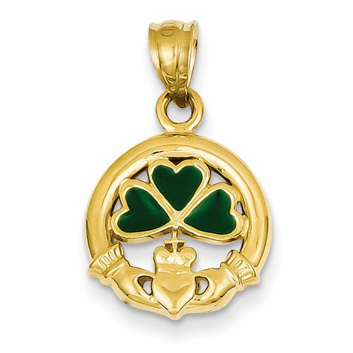 14k Enameled Claddagh Charm K214