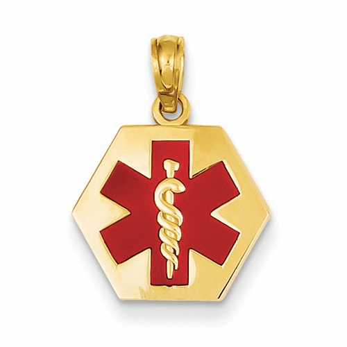 14k Enameled Medical Disk Pendant Xm522