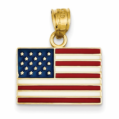 14k Enameled United States Flag Pendant K868