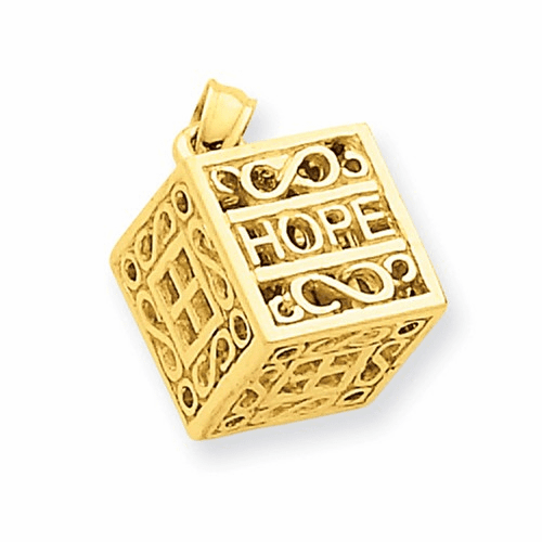 14k Faith & Hope Prayer Box Charm D986