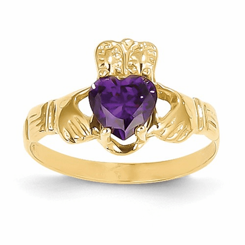 14k February Birthstone Claddagh Ring R488