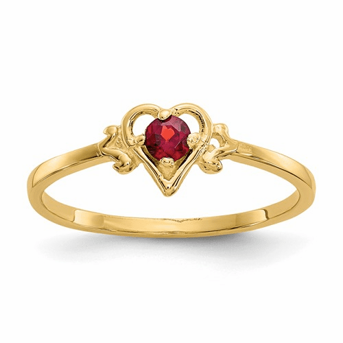 14k Garnet Birthstone Heart Ring Yc424