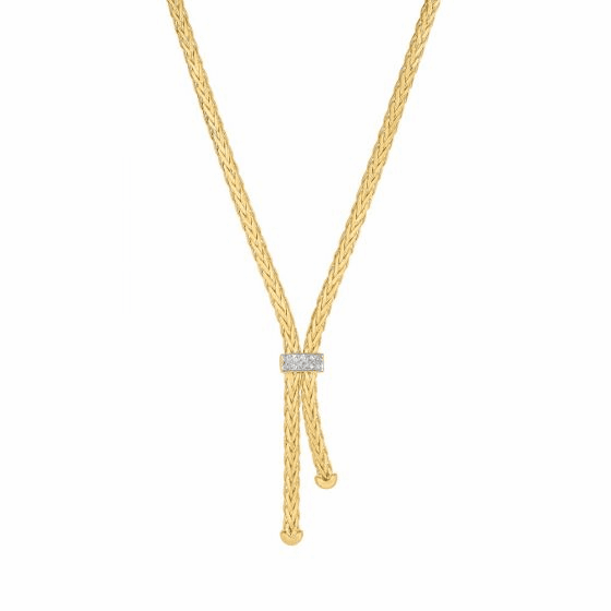 14k Gold 3mm Lariat Woven Necklace with Diamonds