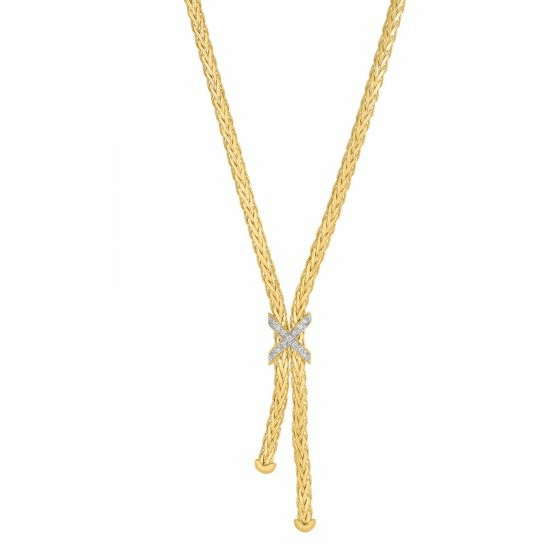 14k Gold 3mm Lariat X Woven Necklace with Diamonds