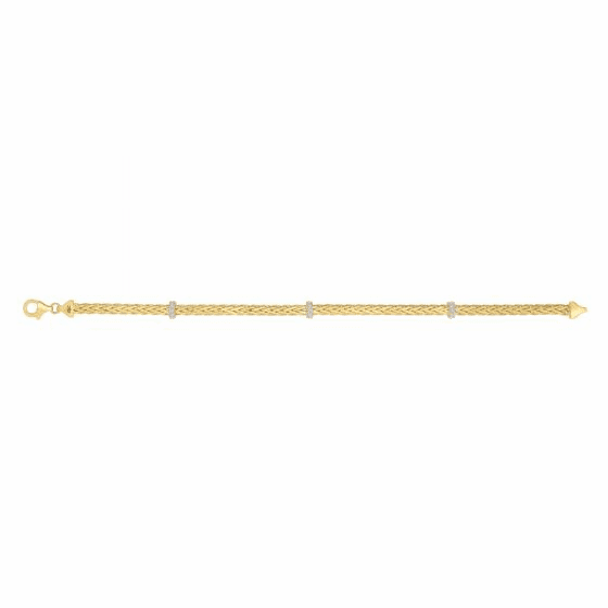 14k Gold 3mm Stationed Woven Bracelet with Diamonds
