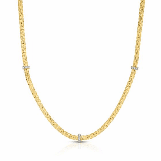 14k Gold 3mm Stationed Woven Necklace with Diamonds