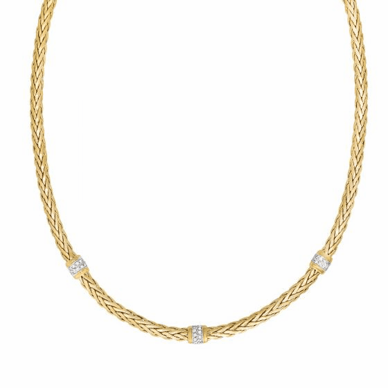 14k Gold 4.5mm Woven Necklace with 3 Diamond Stations