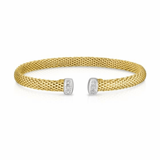 14k Gold 5mm Popcorn Cuff with Diamonds