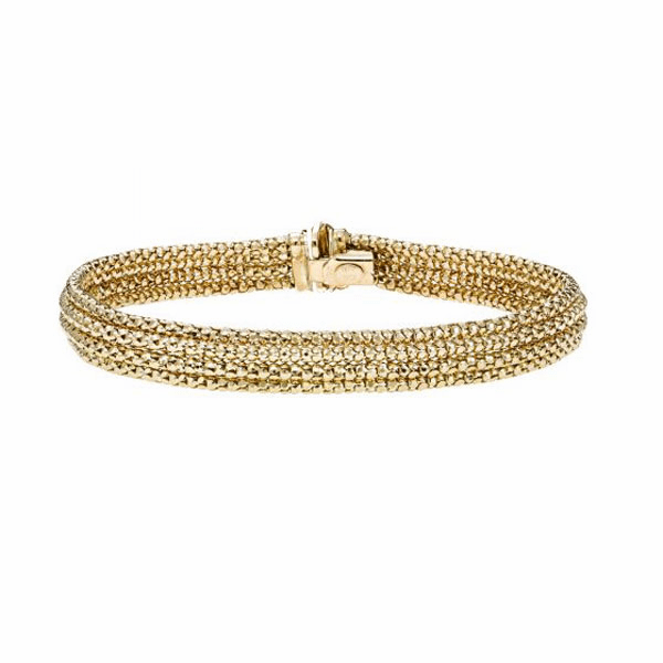 "14K Gold 7.25"" Yellow/White 8mm Diamond Cut Bead Multi-Strand Bracelet"
