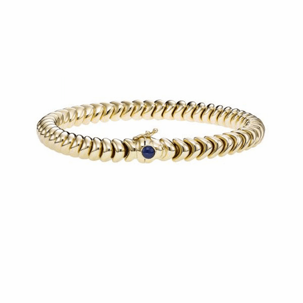 "14K Gold 7.5"" Yellow 6mm Dragon Bracelet with Round Dark Blue Sapphire"