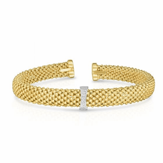 14k Gold 7mm Popcorn Bangle with .05ct Diamonds