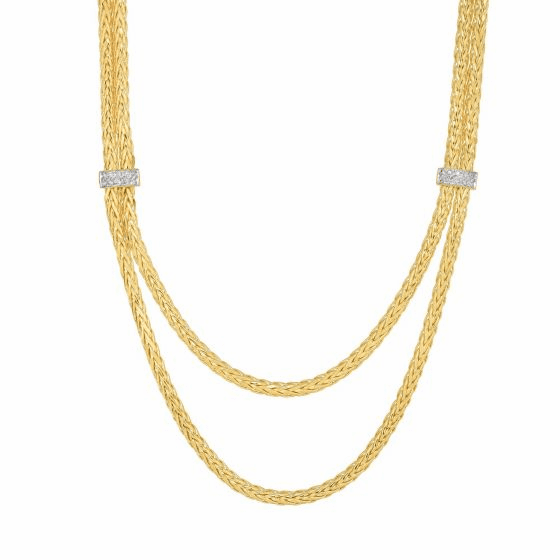 14k Gold 7mm Stationed Double Strand Woven Necklace with Diamonds