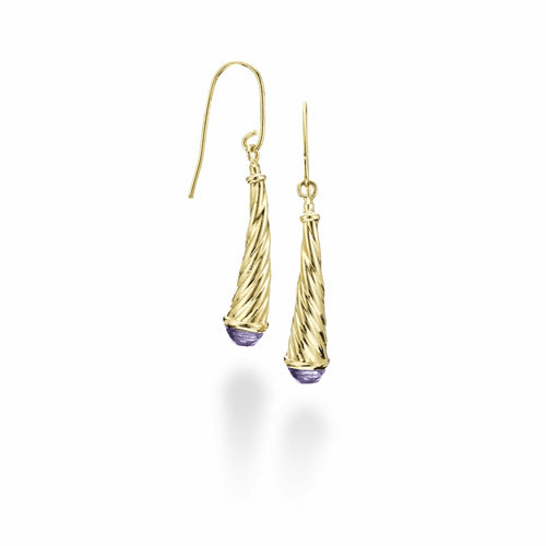 14k Gold Italian Cable Earrings with Amethyst