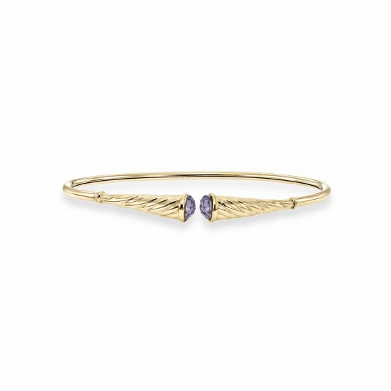 14k Gold Italian Cable Flexible Cuff Bracelet with Amethyst