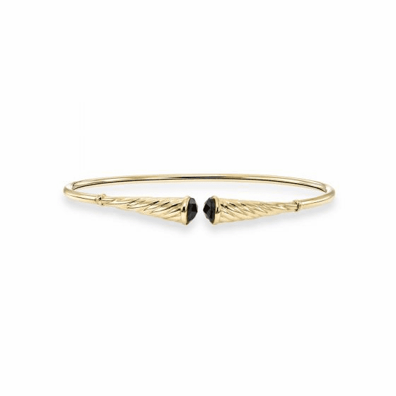 14k Gold Italian Cable Flexible Cuff Bracelet with Black Spinel